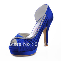 Wholesale Ruched Satin EP11064 IPF Blue PeepToe Platform High Heel Rhinestone Wedding Bridal Evening Shoes Pumps
