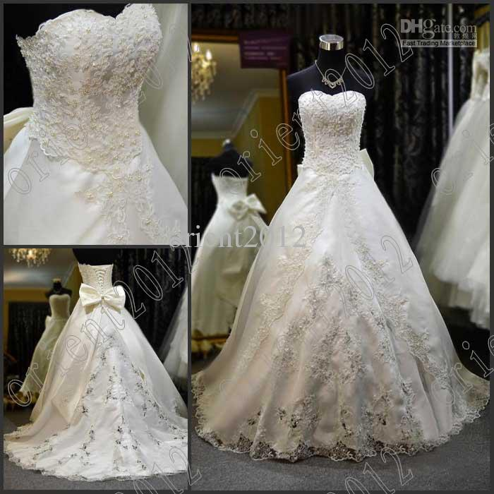 On Sale Sweetheart Lace Beaded Pearl Wedding Dresses