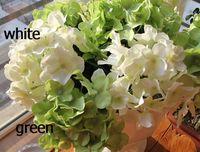Thanksgiving artificial hydrangea stems - 60P white Purple Green Pink Blue Red Silk Artificial Hydrangea pincushion Laurustinus Flower Single Stem per Bush Wedding Bouquet Christmas