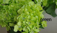 Wholesale 20pcs Green Silk Artificial Hydrangea Pincushion Laurustinus Flower Wedding Bouquet Christmas