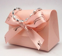 Favor Boxes Pink Paper 50pcs lot Fashion handbags bowknot candy box Wedding Bridal Favors Candy Party Boxes Favor