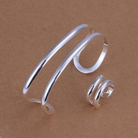 South American Unisex Party S233 hot Christmas gift 925 silver fashion snooth Chain bracelet Ring jewelry lowest price