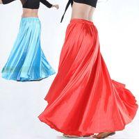 Cheap New Womens Multi Satin Skirt Belly Dance Latin Costume Gypsy Tribal Maxi Dress