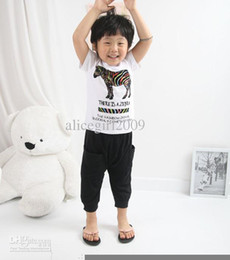 Wholesale boys cute zebra T shirtspants suits set short sleeve boy clothes sets