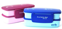 Wholesale 2pcs two layers Japen style lunch box for kid to school lunch box set many colors mix order