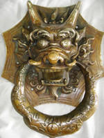 big dog door - refined big rare old copper foo dog door knocker