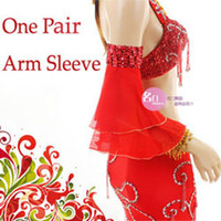 belly fan - One Pair Vogue Chiffon Beads Belly Dance Show Stage fan shape Arm Sleeve