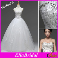 Wholesale Floor Length Ball Gown Sweetheart Full Crystal Beaded Tulle Wedding Dresses Lace Appliques Ella0122