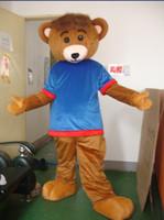 Bear Cartoon Mascot bluet shirt Ours Costumes d'Halloween Cartoon Mascot Adult Fancy Dress personnalisée Mascot Outfit
