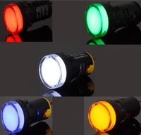 Wholesale 15pcs x22mm DC V Mixed Color Red Green Blue Yellow White LED Indicator Light good qual