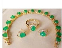 Wholesale Beautiful K gold green jade bracelet earring ring set