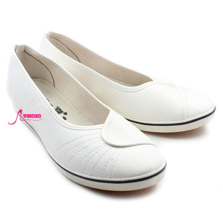 Pure White Nurse Shoes/ Low Helped Set Foot PU Leather Shoes