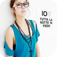 Wholesale Multi tassels tiers Wooden cross sweater NECKLACE Necklace necklace Fashion Pray Cross Necklaces