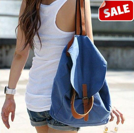 2013 Fashion Korean Women Casual Canvas Backpack School Bags Travel Hiking Backpacks Blue On