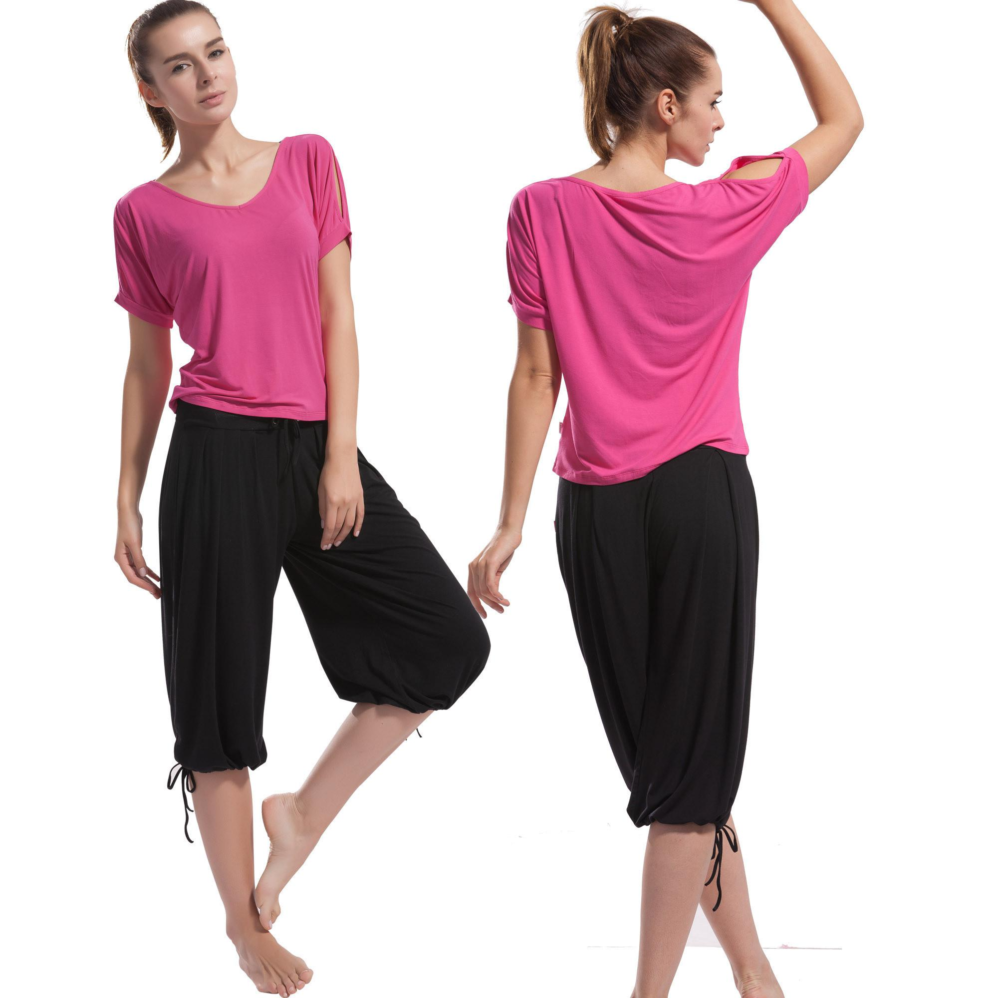 Wholesale Yoga Clothes - Buy Capris Yoga Clothes Fushia Set