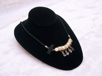 Wholesale jHOT SALE jewelry holder display horizontal necklace neckform bust torso black velvet
