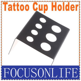 Wholesale 10pcs Black Stainless Steel Tattoo Ink Cup Holder Stand Tattoo Accessories Dropshi