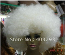 Wholesale whole sale can buy fancy Charming white big Afro Lady s Wig Wigs