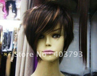 Wholesale whole sale can buy New style short brown human made hair full wig wigs