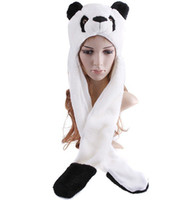 Wholesale hat hood hats hoods with glove long style panda bear animal warm plush scarf muffle