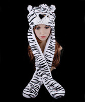 Wholesale hat hood hats hoods with glove long style Bengal animal warm plush scarf muffle