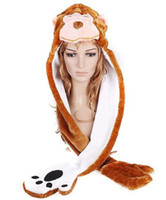 Wholesale hat hood hats hoods with glove long style monkey hare color animal warm plush scarf