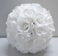 Wholesale 12 Inch Wedding silk Pomander Kissing Ball White roses HUGE
