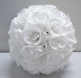 Pure white color 12'' Pack of 10 wedding artificial silk kissing rose flower ball