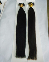 "black straight 1.0g Flat Tip Keratin Tip Human Hair Extensions Indian Remy 20"" 1b# natural black 1g s 100g DHL Free"