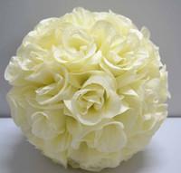 Wedding beautiful wedding bouquets - Very beautiful inch Ivory color Silk Rose Kissing Ball Wedding Flower Decoration