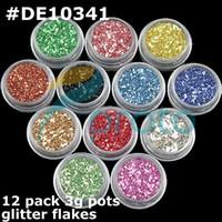 2D art flakes - Freeshipping x pack g pots Colors Nail Art Glitter Shiny Flakes for D Nail Art Decoration Set W