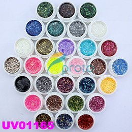 Wholesale Hong Kong Post Mail Freeshipping Colors UV Gel with Mix Glitter Paillette for UV Nail Art Tips Ex
