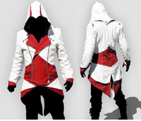 Wholesale Assassin s Creed III Conner Kenway Coat Red Jacket Hoodie hood Cosplay Costume