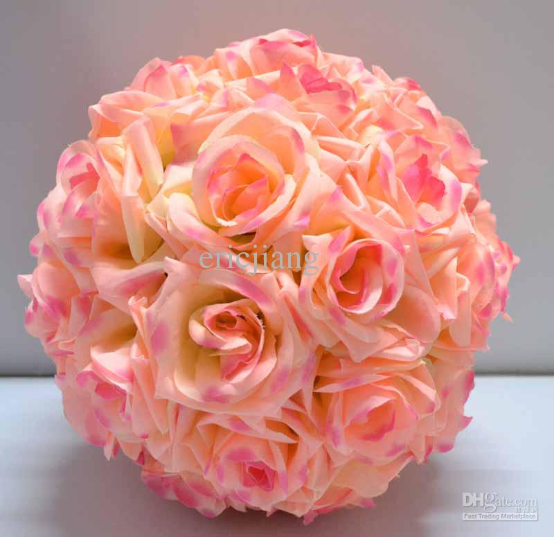 12 Rose Pink Kissing Ball Pomander Wedding Decorations Flower