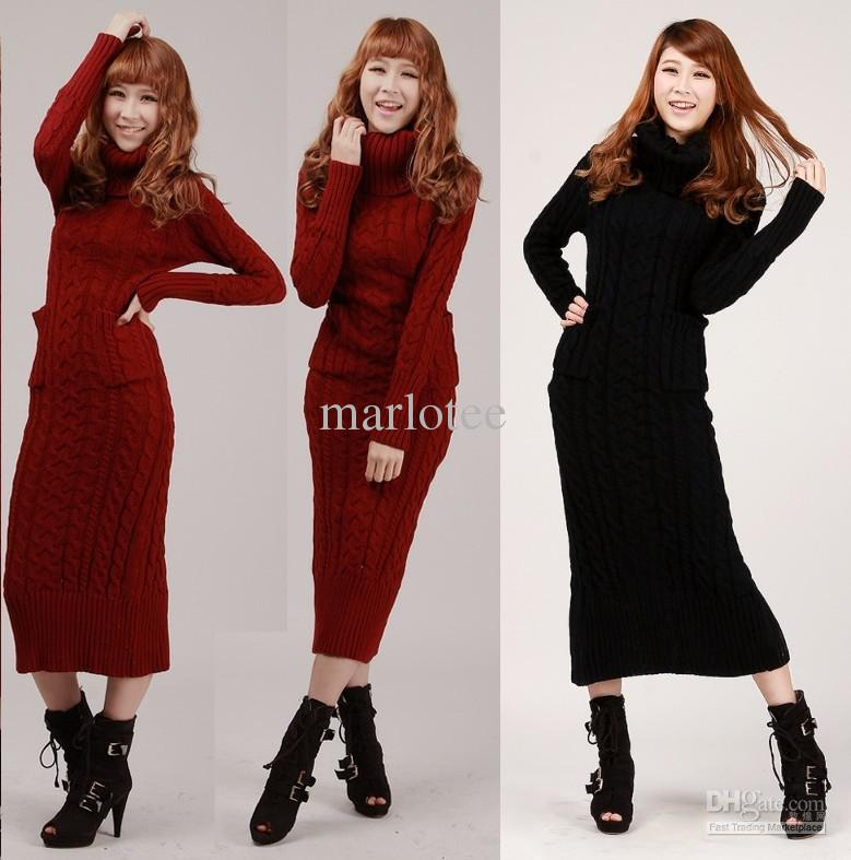 New Hot Seller Women Maxi Sweater Dress Jumper Pullover Cowl Neck ...