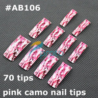 Wholesale AA964 New Airbrush Designed Pink Camo false french nail art tips AB106
