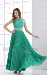 2015 Sexy Dark Greeen One Shoulder Sheath Prom Dresses Pleated Beaded Piping Party Dresses MZ089