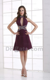 2015 Sexy Short Purple Halter Pleated Cocktail Dresses A Line Beaded Sequins Prom Dresses MZ090
