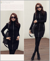 Wholesale 2013 Hottest Sale Women s Autumn Winter Korean Stand Collar Zipper Coat Dress DHZ