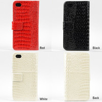 Plastic For Apple iPhone For Christmas 1PCS Crocodile Pattern Leather Wallet Case Cover Fit For iPhone 5G Credit Card Slot CM164