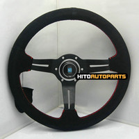 Wholesale 340mm Nardi Steering Wheel Leather Suede Deep Dish inch Red Stitch