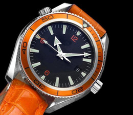 Classic Men's mechanical watch Swiss luxury brand watch Black dial Orange bezel leather band OM017
