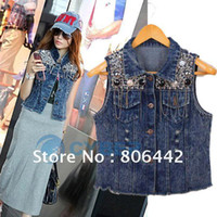 Wholesale 2012 Fashion Women s Jean Vest Fashion Style Lady Denim Sleeveless Jacket