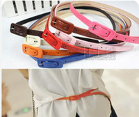 Wholesale Hot fashion belt retro slider candy lady fine leather belt mixed colors