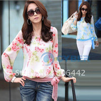 Wholesale Women s Floral Print Pattern Chiffon Casual Puff Long Sleeve Tops Blouses