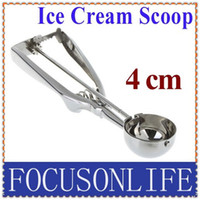 Wholesale 4CM Kitchen Ice Cream Mash Potato Scoop Stainless Steel Spoon Spring Handle freeshipping dropshippi