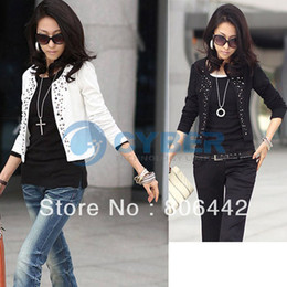 Wholesale New Korea Fashion Lady Long Sleeve Shrug Suits Blazer Short Outerwear Women s Rivet Coat Jacket Free