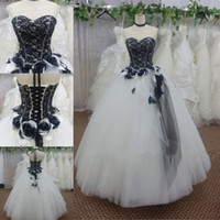 and decoration - Custom Made White And Black Lace Flower Decoration Tulle Ball Gown Long Dress For Prom Formal Dress