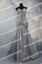 Wholesale Unforgettable Sliver Sweetheart Beaded Mermaid Organza Long Prom Dress Fashion Style Custom Made
