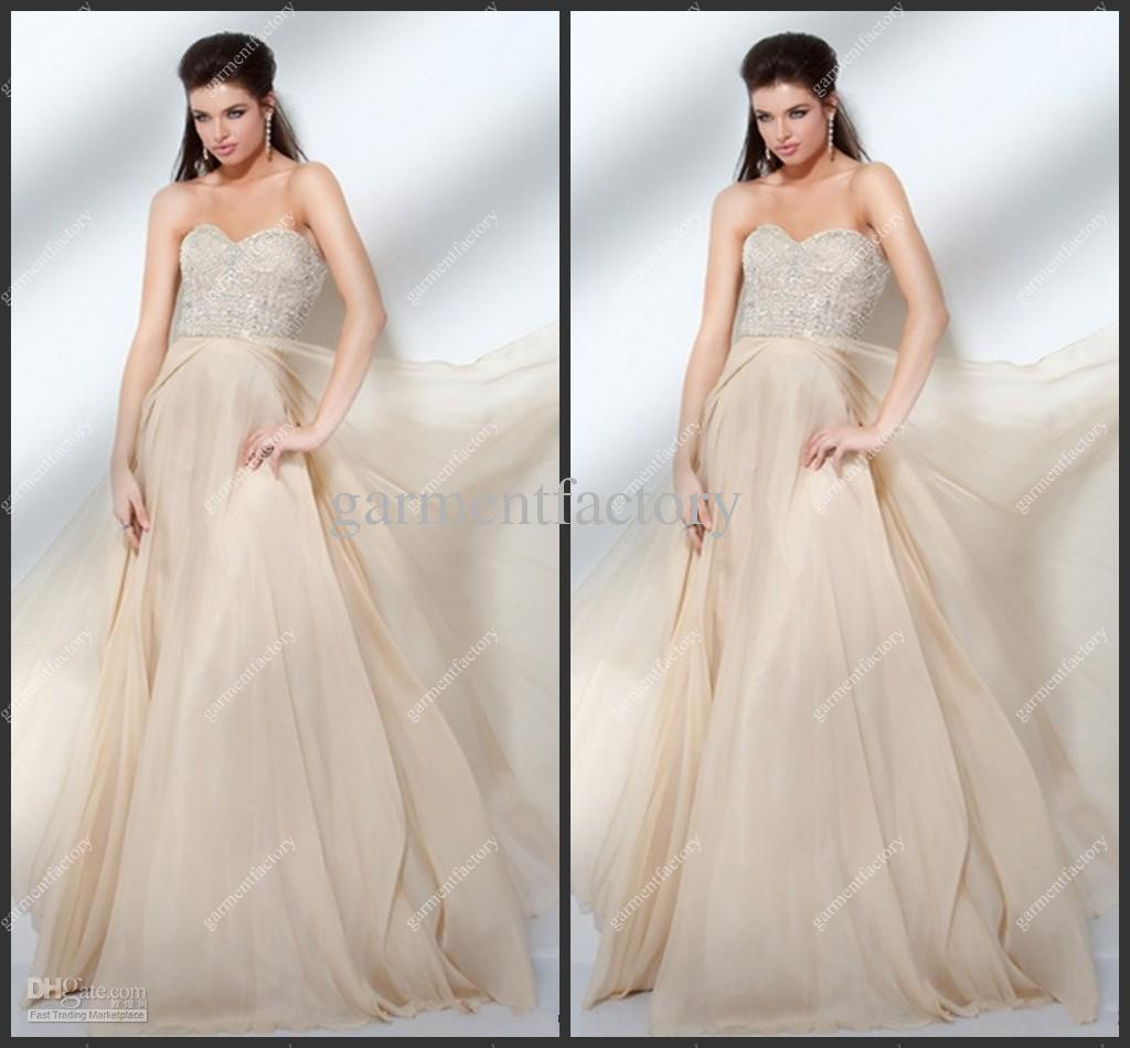 2013 Gorgeous Champagne Chiffon Prom Dresses Sequined Top A Line ...
